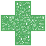 First aid medical icons set. Vector illustration in linear (flat) design. Medical icons set. Vector illustration in linear (flat) design Royalty Free Stock Image