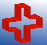 First aid or medical sign. 3d first aid or medical symbol of gradient blue background - vector Royalty Free Stock Images