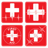 First Aid Medical Symbols. Illustration of four simple first aid health icons or medical symbols with hearts and heartbeat lines in red Royalty Free Stock Photos