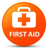 First aid orange round button Royalty Free Stock Image