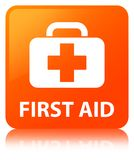 First aid orange square button. First aid isolated on orange square button reflected abstract illustration Stock Photography