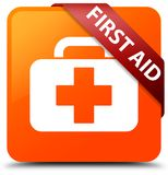 First aid orange square button red ribbon in corner. First aid isolated on orange square button with red ribbon in corner abstract illustration Royalty Free Stock Images