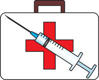 First-aid outfit and syringe. Vector illustration Stock Photo