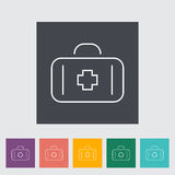 First aid. Outline icon on the button. Vector illustration Stock Photography