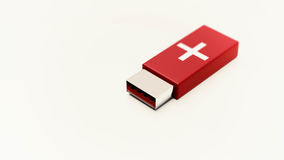First aid pendrive. On white background and copyspace 3d illustration Royalty Free Stock Photo