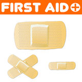 First Aid Plaster Set. A set of vector plaster's (band-aids) in different shapes and sizes. Fully scalable vector illustration Stock Photo