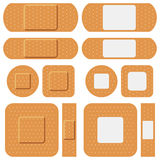First Aid Plasters Collection. Collection of six first aid plasters, isolated on white background. Eps file available Royalty Free Stock Images