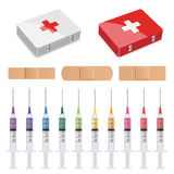 First aid, plasters and syringes. Illustration for the web Royalty Free Stock Photography