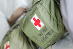 First Aid Pouch. First aid gear inside military transport aircraft Stock Photography