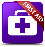First aid purple square button red ribbon in corner. First aid isolated on purple square button with red ribbon in corner abstract illustration Royalty Free Stock Image