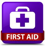 First aid purple square button red ribbon in middle. First aid isolated on purple square button with red ribbon in middle abstract illustration Royalty Free Stock Image