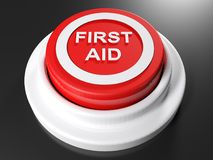 FIRST AID pushbutton - 3D rendering. A red pushbutton with the write FIRST AID in a circle on its upper part - 3D rendering illustration Stock Image