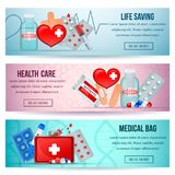 First Aid Realistic Banners. First aid kit 3 horizontal realistic health care website banners with medical emergency supply isolated vector illustration Royalty Free Stock Photo
