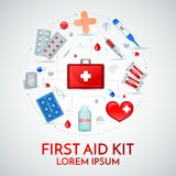 First Aid Realistic Composition. First aid kit realistic circular composition of medical emergency treatment supplies with antiseptic bandage pills vector Stock Photography