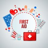 First Aid Realistic Composition. First aid kit realistic circular frame composition of medical emergency treatment supplies with bandage pills vector Stock Image