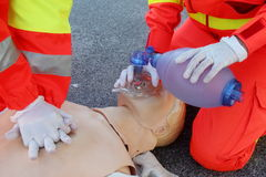 First aid, reanimation. Image of first aid, reanimation with manikin stock photo