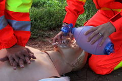 First aid, reanimation. Image of first aid, reanimation with manikin Royalty Free Stock Photo