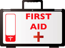 First aid red. First aid kit in red and black illustrated with room for your own text Royalty Free Stock Photography