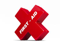 First aid red box. First aid 3d  red box on white background Royalty Free Stock Image
