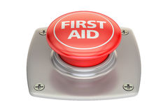 First Aid Red button, 3D rendering. On white background Stock Image