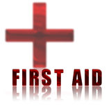 First Aid and Red Cross. First Aid text with Red Cross depicted in the background Stock Photos