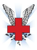 First aid red cross. With wing and effects Royalty Free Stock Image