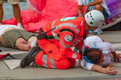 First aid. The Red Cross is involved in a road accident Stock Photos
