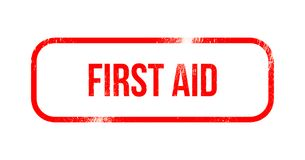 First aid - red grunge rubber, stamp.  Stock Photography