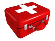 First aid red medical kit box. 3d Royalty Free Stock Image