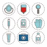 First aid design. First aid related icons over background colorful design vector illustration Stock Image