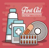 First aid design. First aid related icons over red background colorful design vector illustration Royalty Free Stock Image