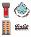 First aid design. First aid related icons over white background colorful design vector illustration Stock Photos