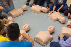 First aid resuscitation course in primary school. Stock Images