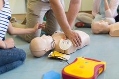 First aid resuscitation course using AED. Stock Image