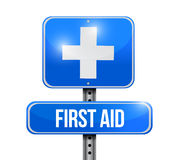 First aid road sign illustration design Stock Image
