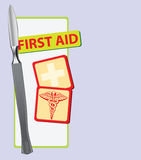 First Aid with a scalpel. Background on the topic of first aid with a scalpel. Vector illustration Royalty Free Stock Photos