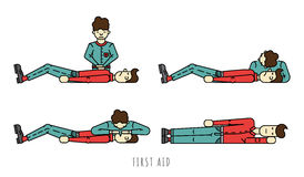 First aid scheme. Description the phased provision of first aid. Person badly and the person who provides first aid to the victim. Scheme first aid when you stop Stock Photo