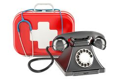 First Aid service concept, phone on medical kit. 3D rendering. First Aid service concept, phone on medical kit. 3D Royalty Free Stock Photography