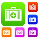 First aid set color collection. First aid set icon color in flat style isolated on white. Collection sings vector illustration Royalty Free Stock Images