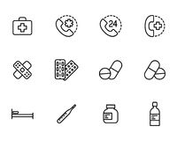 First aid set icons on white background. Thin line first aid set icons on white background Royalty Free Stock Images