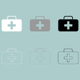 First aid set or medicine chest icon. First aid set or medicine chest icon set Stock Image
