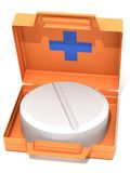 The first-aid set with a tablet. The three-dimensional image of the first-aid set with a tablet on a white background Stock Photos