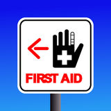 First aid sign. First aid station sign with arrow illustration Stock Photo