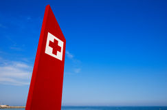 First Aid Sign - Barcelona Beach Stock Photos