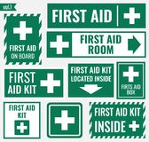 First aid sign. First aid label and sign set, vector illustration Royalty Free Stock Images