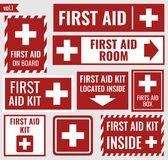 First aid set. First aid sign and label set, vector illustration Royalty Free Stock Photography