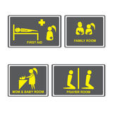 First aid Signs.First aid room on Signboards.Family room,prayer. Room,Mom and baby room on Signboards.People icons set.Vector illustration Stock Images