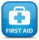 First aid special cyan blue square button. First aid  on special cyan blue square button abstract illustration Stock Photo