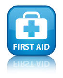 First aid special cyan blue square button. First aid isolated on special cyan blue square button reflected abstract illustration Stock Images