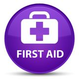 First aid special purple round button. First aid isolated on special purple round button abstract illustration Royalty Free Stock Photos